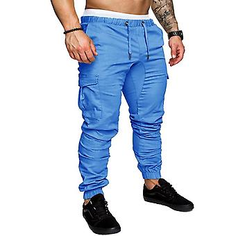 New Male Trousers Mens Solid Multi-pocket Cargo Pants Skinny Fit Sweatpants