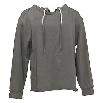 Peace Love World Women's Sweater Mock Neck Hoodie Gray A369943