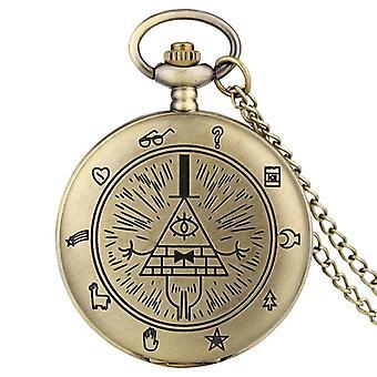 Eye Of Providence Weird Town Triangle Devil Quartz Pocket Watch