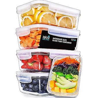 Igluu Glass Meal Prep Containers with Transparent, Steam Vent Lids