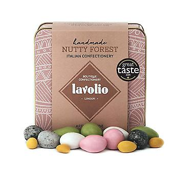 Lavolio nutty forest confectionery gift tin (175g) - premium selection of covered nuts and luxury ch