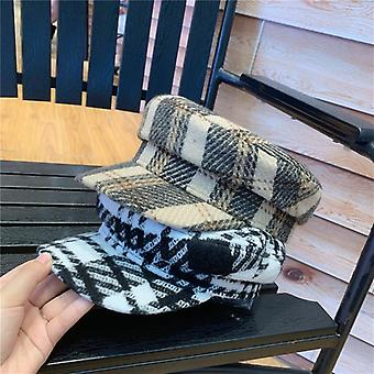 Wool Blended  England Plaid Service Cap  Women Wool Visors Hat