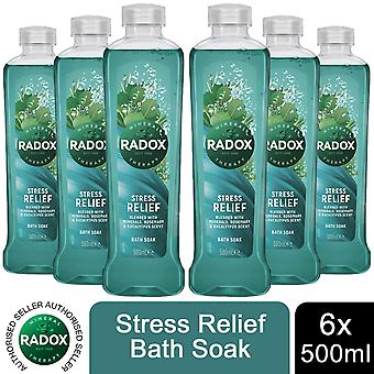Radox 100% Nature Inspired Fragrances Bath Soak, Stress Relief, 6 Pack, 500ml
