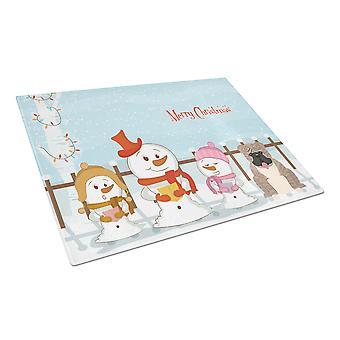 Caroline's Treasures Bb2457Lcb Merry Christmas Carolers Inglese Bulldog Grey Brindle Glass Cutting Board, Large, Multicolor