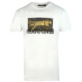 Roberto Cavalli Cheetah Logo Valkoinen T-paita