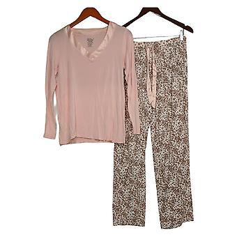 بالي المرأة & apos;s طويل Slvs طباعة V-الرقبة الأعلى والسراويل صالة مجموعة الوردي A384586