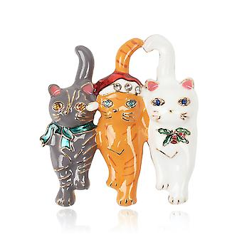 Cute Ladies Brooch Three Cats Corsage Alloy Brooch Pin