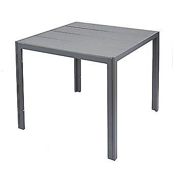Grey Outdoor Square Dining Table Polywood Garden Patio Furniture Metal Frame