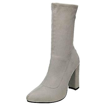 Koi Footwear High Heel Mid Calf Ankle Boots Pointed Toe Grey Suede
