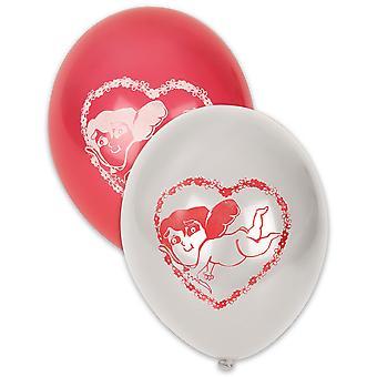 10 Witte en rode Valentijnsballonnen 30 cm