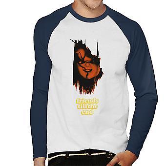 Chucky Friends Till The End Men's Honkbal T-Shirt met lange mouwen