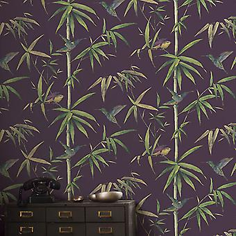 Global Fusion Humming Birds Wallpaper Aubergine G56410