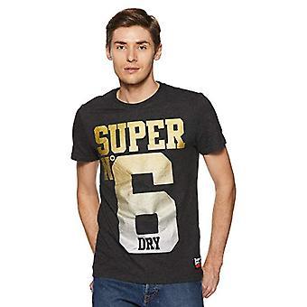 Superdry Super No 6 Tee T-Shirt, Grey (Charcoal Marl 04q), S Man