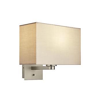 Wall Lamp Matt Nickel Plate, Taupe Fabric Rectangular Shade With Usb Socket