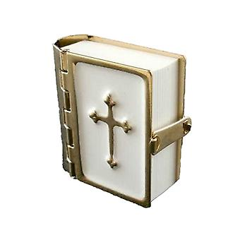 Bíblia da Casa das Bonecas com páginas impressas Acessório de Igreja Em miniatura