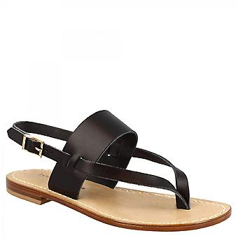 Leonardo Shoes Women's handmade flat thong sandals in black leather with buckle closure