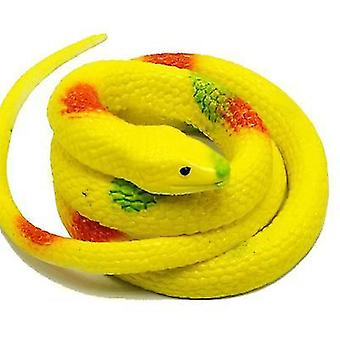 Yellow realistic rubber fake snake toy for garden props and practical joke x3931