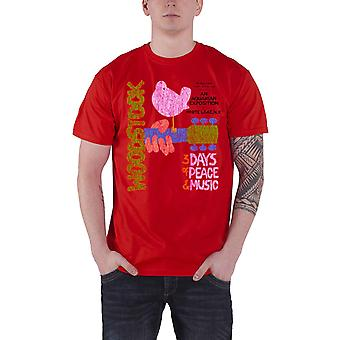 Woodstock Mens T Shirt Red Classic Vintage Distressed Poster Official