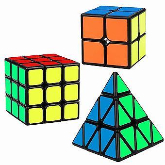 Speed cube set magic cube bundle de 2x2 3x3 pyramide autocollant lisse puzzle cube jouet pour enfants 3 pack dt6077