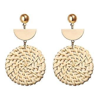 Rattan Earrings Lightweight Geometric Woven Bohemian Earrings For Women Girls