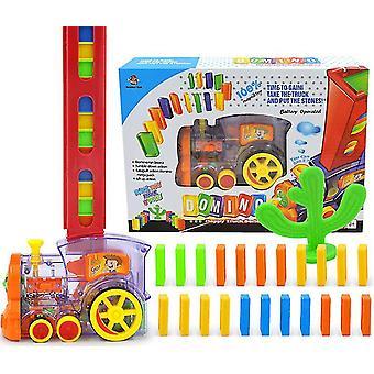 Puzzle domino car children train toy set domino building block set(Transparent)