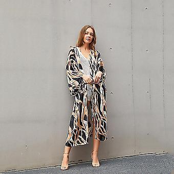 Leopard Pattern Bikini Cover Up Chiffon Suncreen Long Sleeves Beachwear Cardigan