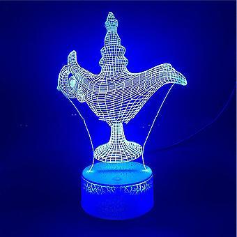 Lampe af Aladdin 3d Led Night Light Soveværelse Tabel Lampe Color Ændring