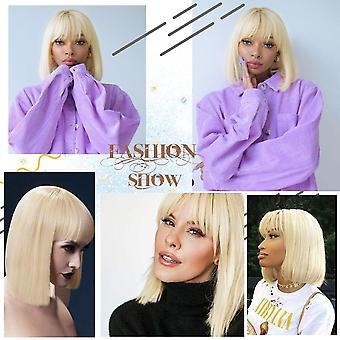 Short straight blonde bob wig with bangs  natural hairline wigs girl's pixie heat resistant fiber