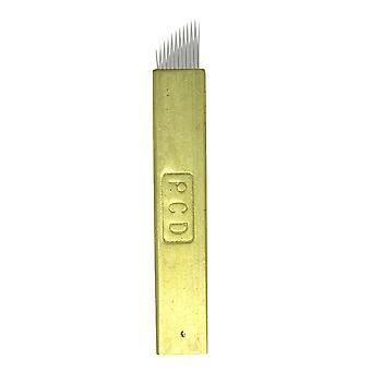 Microblading øyenbryn nåler manuell gull PCD hard pin skyggelegging kniver permanent[12 CF,10]