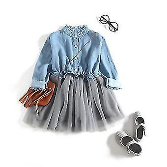 Girl Dress One Piece Tulle Tutu Princess Dress Long Sleeve Shirt Dress(110cm)