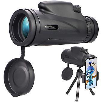 HD 12x50 Télescope monoculaire, étanche télescope monoculaire avec trépied avec adaptateur smartphone, pour l'observation des oiseaux, la chasse, le tourisme de randonnée, le jeu de balle de concert, (noir)
