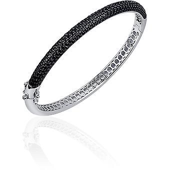Gisser Jewels - Bracelet - Bangle Half Sphere set with Black Zirconia - 6mm Wide - Size 68 - Gerhodineerd Zilver 925