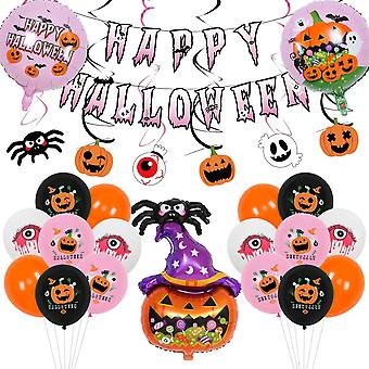 Halloween balloon decoration cute pumpkin spider 26pcs hanging flag black pink spiral set
