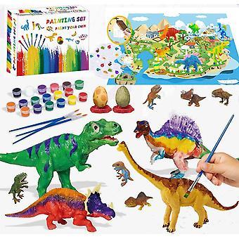 Dinosaurier Spielzeug ab 4 5 6 Jahre, Dinosaurier Figuren Bastelset Kinder, 47 Stück DIY 3D