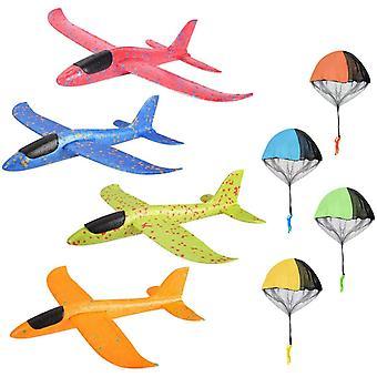 4 Segelflugzeug + 4 Fallschirm Kinder, Fallschirm Spielzeug Kinder Modell Schaum Flugzeug Manuelles