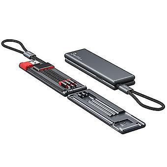 Musta 3-in-one USB-kaapeli Type-C mini nopea lataus, nailonkaapeli, Iphone magneettinen laatikko datakaapeli