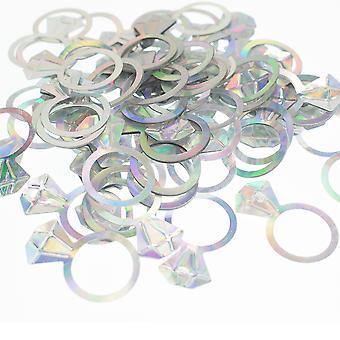 LAST FEW - 14g Bague en diamant argent irisé Fiançailles ou confettis de mariage