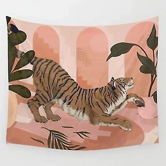 100x150CM vaaleanpunainen tiikeri tapetti Ainmal kasvi sarjakuva maalattu seinävaate seinä roikkuu sisustus seinäkangas