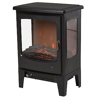 HOMCOM 900W/1800W Freestanding Electric Fireplace Room Heater w/ Adjustable Artificial Flame Tempered Glass Safe Home Warmth Retro Faux Fire