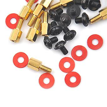 Screws 10pcs golden motherboard riser+silver screws computer red washers 6.5mm 6-32-m3 high quality