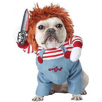 Dog Costumes Deadly Doll Chucky Clothes Pet Christmas Party Cosplay Outfit With Cap
