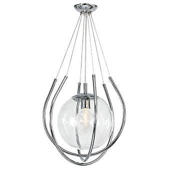 Lámpara colgante Felis, Cromo Color Metal, Vidrio, L39xD39xA90 cm