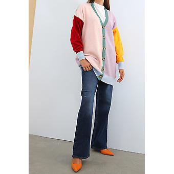 Colorful Button Front Knitwear Cardigan