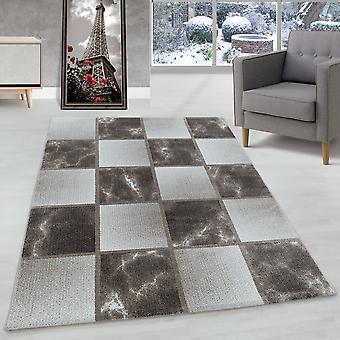 Woonkamer tapijt korte stapel tapijt bruin grijs vierkant patroon gemarmerd zacht