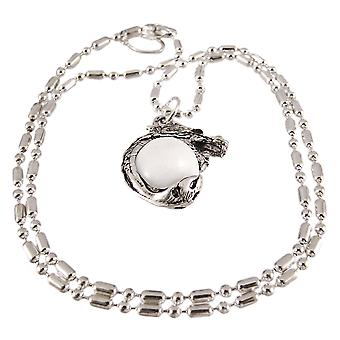 Rhodium Dragon witte marmeren Orb hanger parel ketting