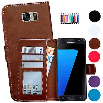 Custodia / portafoglio in pelle - Samsung Galaxy S7 Edge + Touch Pen