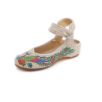 Women's Chinese Retro Ethnic Embroidery Low Heel Flat Elevator Cheongsam Dress Shoes Peacock Sandals