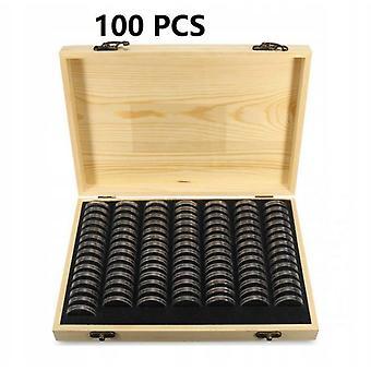 Boîtier en bois pour la collection de pièces 100 pièces