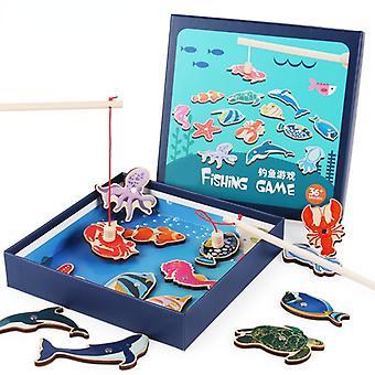 大きな14ピース子供の木製の磁気釣りおもちゃマリンアニマルファンゲームパズル赤ちゃんのおもちゃの誕生日プレゼント