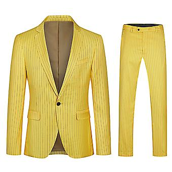 Yunyun Homme Costume Simple Row One-button Striped Jacket+pants